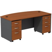 Bush Business Westfield 72W Bowfront Shell Desk with (2) 3-Drawer Mobile Pedestals, Autumn Cherry/Graphite Gray, Installed
