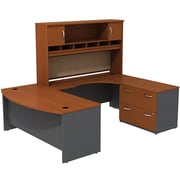 Bush Westfield 72 Bowfront Desk Shell, 72 RH Corner Module, Hutch & Lateral File StorageAutumn Cherry/Graphite Gray, FA