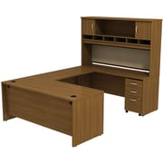Bush Westfield 72 U-Station Desk w/ Hutch & Mobile Pedestal Cafe Oak, FA
