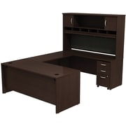 Bush Westfield 72 U-Station Desk w/ Hutch &  Mobile Pedestal Mocha Chery, FA