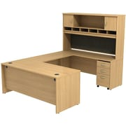 Bush Westfield 72 U-Station Desk w/ Hutch & Mobile Pedestal Danish Oak, FA