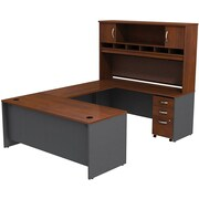 Bush Westfield 72 U-Station Desk w/ Hutch &  Mobile Pedestal Hansen Cherry/Graphite Gray, FA