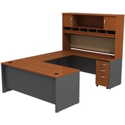 Bush Westfield 72 U-Station Desk w/ Hutch & Mobile Pedestal Autumn Cherry/Graphite Gray, FA