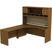 Bush Business Westfield 72W LH Corner L-Desk with 72W 2-Door Hutch, Cafe Oak, Installed