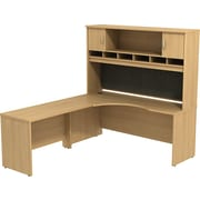 Bush Business Westfield 72W LH Corner L-Desk with 72W 2-Door Hutch, Danish Oak, Installed