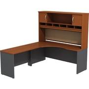 Bush Business Westfield 72W LH Corner L-Desk with 72W 2-Door Hutch, Autumn Cherry/Graphite Gray, Installed