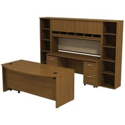 Bush Business Westfield 72W Bowfront Desk with 72W Credenza, Hutch & (2) Bookcases, Cafe Oak, Installed