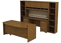 Bush Westfield 72' Bowfront Desk w/ Credenza, Hutch & Bookcase StorageCafe Oak, FA