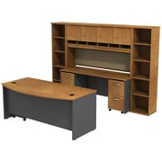 Bush Westfield 72 Bowfront Desk w/ Credenza, Hutch & Bookcase StorageNatural Cherry/Graphite Gray, FA