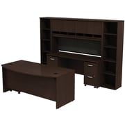 Bush Business Westfield 72W Bowfront Desk with 72W Credenza, Hutch & (2) Bookcases, Mocha Cherry, Installed