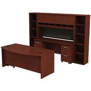 Bush Business Westfield 72W Bowfront Desk with 72W Credenza, Hutch & (2) Bookcases, Cherry Mahogany, Installed