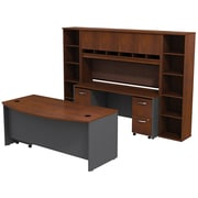 Bush Business Westfield 72W Bowfront Desk with 72W Credenza, Hutch & (2) Bookcases, Hansen Cherry/Graphite Gray, Installed