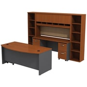 Bush Business Westfield 72W Bowfront Desk with 72W Credenza, Hutch & (2) Bookcases, Autumn Cherry/Graphite Gray, Installed