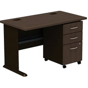 Bush Cubix 48W Desk w/ 3 Dwr Mobile Ped (B/B/F), Cappuccino Cherry/Hazelnut Brown, Fully Assembled