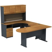 Bush Cubix U-Desk w/ Expandable Corner Desk, Bridge & Peninsula Desk, Natural Cherry/Slate Gray, Fully Assembled