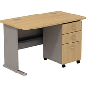 Bush Cubix 48W Desk w/ 3 Dwr Mobile Ped (B/B/F), Danish Oak/Sage, Fully Assembled