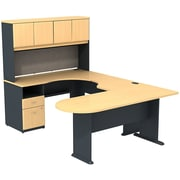 Bush Cubix U-Desk w/ Expandable Corner Desk, Bridge & Peninsula Desk, Euro Beech/Slate Gray, Fully Assembled