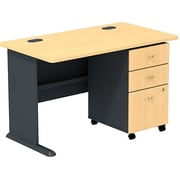 Bush Cubix 48W Desk w/ 3 Dwr Mobile Ped (B/B/F), Euro Beech/Slate Gray, Fully Assembled
