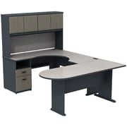 Bush Cubix U-Desk w/ Expandable Corner Desk, Bridge & Peninsula Desk, Slate Gray/White Spectrum, Fully Assembled