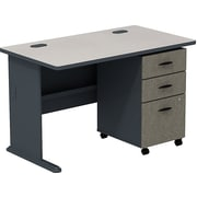Bush Cubix 48W Desk w/ 3 Dwr Mobile Ped (B/B/F), Slate/White Spectrum, Fully Assembled