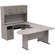 Bush Cubix U-Desk w/ Expandable Corner Desk, Bridge & Peninsula Desk, Pewter/White Spectrum, Fully Assembled