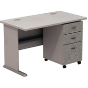 Bush Cubix 48W Desk w/ 3 Dwr Mobile Ped (B/B/F), Pewter/White Spectrum, Fully Assembled