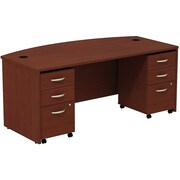 Bush Business Westfield 72W Bowfront Shell Desk with (2) 3-Drawer Mobile Pedestals, Cherry Mahogany, Installed