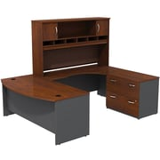 Bush Westfield 72 Bowfront Desk Shell, 72 RH Corner Module, Hutch & Lateral File StorageHansen Cherry/Graphite Gray, FA