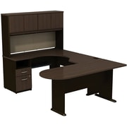 Bush Cubix U-Desk w/ Expandable Corner Desk, Bridge & Peninsula Desk, Cappuccino Cherry/Hazelnut Brown, Fully Assembled