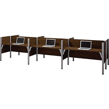 Bestar Pro-Biz Office System Six Straight Desk Workstation, 3/4 Wall, Chocolate