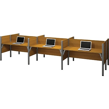 Bestar Pro-Biz Office System Six Straight Desk Workstation, 3/4 Wall, Cappuccino Cherry