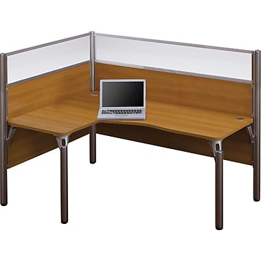 Bestar Pro-Biz Office System Single Left L-Desk Workstation, Full Wall, Cappuccino Cherry