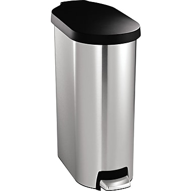 simplehuman® Slim Step Trash Can, Stainless Steel w/ Black Plastic Lid, 12 Gallon