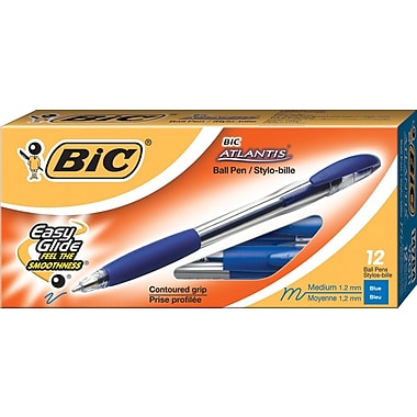 BIC Atlantis® Ballpoint Stick Pen, Medium Point, Blue, Dozen