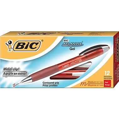 BIC® Atlantis® Retractable Gel-Ink Pens, Red, Dozen