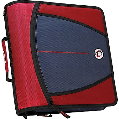 Case•it D-146 Red 3in. Zipper Binder with Tab File