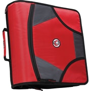 "Case•it D-186 4"" Red Zipper Binder with Built-in Tab File"