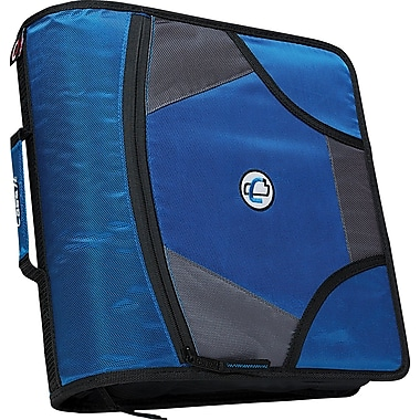 Case•it D-186 4in. Blue Zipper Binder with Built-in Tab File