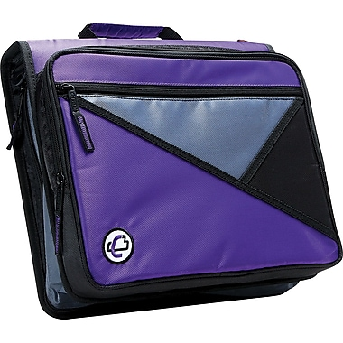Case•it LT-007 2in. Purple Zipper Binder with Laptop/Tablet Pocket