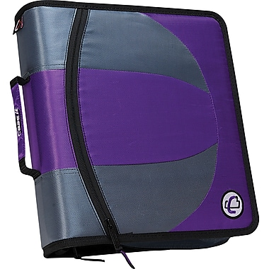 Case•it Dual-101 Purple 2-in-1 1/2in. D-Ring Zipper Binder with Hold Down Pages