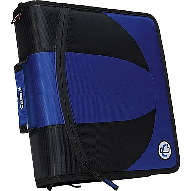 Case•it Dual-101 Blue 2-in-1 1/2in. D-Ring Zipper Binder with Hold Down Pages