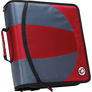 Case•it Dual-101 Red 2-in-1 1/2in. D-Ring Zipper Binder with Hold Down Pages