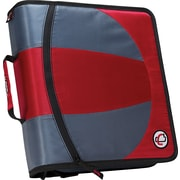 "Case•it Dual-101 Red 2-in-1 1/2"" D-Ring Zipper Binder with Hold Down Pages"