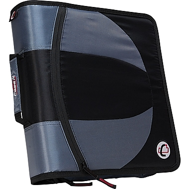Case•it Dual-101 Black 2-in-1 1/2in. D-Ring Zipper Binder with Hold Down Pages