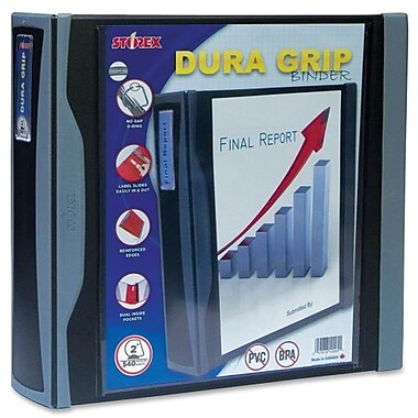 Storex Heavy-Duty Dura D-Ring Grip Binder, 2