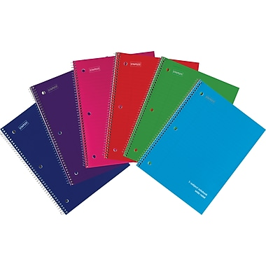 Staples Poly Cover Wirebound Notebook, Wide Ruled, Assorted Colors, 8in. x 10-1/2in.