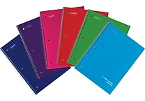 Staples® Poly Cover Wirebound Notebook, Wide Ruled, Assorted Colors, 8' x 10-1/2'