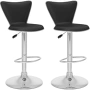 CorLiving™ Leatherette Tall Curved Back Adjustable Bar Stool, Black