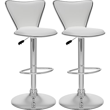 CorLiving™ Leatherette Tall Curved Back Adjustable Bar Stool, White