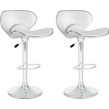 CorLiving™ Curved Form Fitting Adjustable Bar Stool, White Leatherette, set of 2